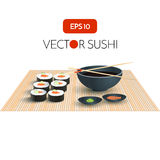 Vector Sushi with Soy Sauce  Illustration. Japan Food Menu Restaurant Background Royalty Free Stock Photo