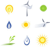 Vector sustainable energy elements. Set of icons with renewable energy theme Royalty Free Stock Photography