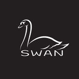 Vector of a swan on black background. Royalty Free Stock Photos