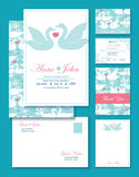 Vector Swans Wedding Invitation Set. RSVP, Thank. You Card, Envelop graphic design Stock Images