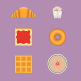 Vector sweet breakfast set. Of different meals Royalty Free Stock Photos