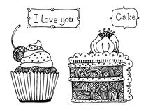 Vector sweet cake set Stock Images