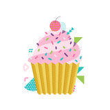 Vector sweet cupcake illustration with cherry on top. Made in 80s memphis style. Can be used as greeting card, print or vector illustration