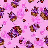 Vector sweet cupcakes pattern Stock Image
