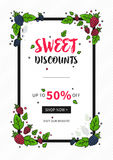 Vector Sweet Discounts Up To 50 percent off banner. With berries and leaves for online stores, websites, retail posters, social media ads. Creative banner for Royalty Free Stock Image
