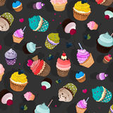 Vector sweet food pattern. Cupcake delicious dessert, Sweet decorated cakes with muffin. Cartoon wallpaper texture. Vector sweet food pattern. Cupcake delicious Royalty Free Stock Photography