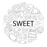 Vector Sweet pattern with word. Sweet background. Vector illustration Royalty Free Stock Photos