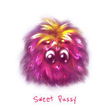Vector sweet pink pussy on white background Stock Photo
