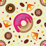 Vector Sweet seamless pattern of colored. Stock Image