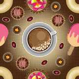Vector Sweet seamless pattern on halftone background. Royalty Free Stock Images