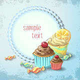 Vector Sweets of cake and caramel banner. Design for sweets and pastries filled with cake and caramel, dessert menu, health care products. With elements of Royalty Free Stock Image