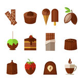 Vector sweets and chocolate icons set in flat Royalty Free Stock Photography