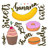 Vector sweets collection. Vector doodle sketches sweets - cupcake, donut, macaroon  Royalty Free Stock Photography