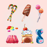 Vector sweets and cookies set in cartoon style Stock Photography