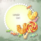 Vector Sweets of lollipop and caramel banner. Design for sweets and pastries filled with lollipop and caramel, dessert menu, health care products. With Stock Photography