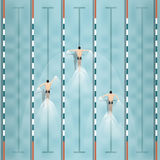 Vector of swimmers are swimming in swimming pool,top view Stock Photo