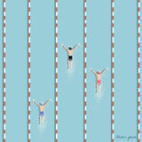 Vector of swimmers are swimming in swimming pool,top view Royalty Free Stock Photo