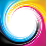 Vector swirl background of primary colors printing process CMYK. Vector modern creative eddy aqua backdrop pattern of vivid primary dye gamma full-colour Stock Images