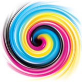 Vector swirl background of primary colors printing process: CMYK Stock Photography