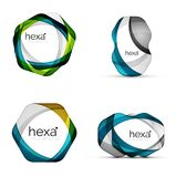 Vector swirl hexagon set, geometric business icons or web banners templates with sample slogan. Created with color stock illustration