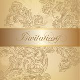 Vector swirl invitation card in golden color. Elegant classic wedding invitation or menu. Retro vector Stock Images