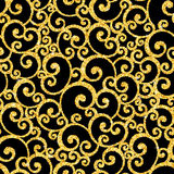 Vector swirl seamless pattern with gold glitter on Stock Photos