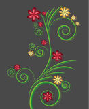 Vector swirls with flowers. Color vector background with circle royalty free illustration