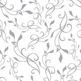 Vector Swirly Branches Gray Vintage Seamless Royalty Free Stock Image