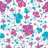 Vector Swirly Vibrant Flowers Seamless Pattern Stock Images