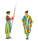 Vector Swiss Guards of Vatican Royalty Free Stock Photography