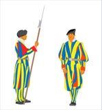 Vector Swiss Guards of Vatican. Vector Papal Swiss Guards in uniform vector illustration