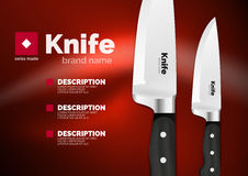 Vector Swiss made knife ad template. Steel metallic blade with black handle Stock Photography