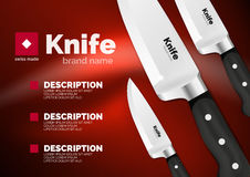 Vector Swiss made knife ad template. Steel metallic blade with black handle Stock Image