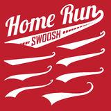 Vector Swooshes, Swishes, Whooshes, and Swashes. For Typography on Baseball Tail Tee shirt Stock Photos