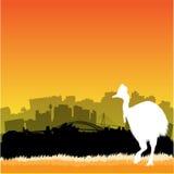 Vector Sydney illustration. Vector Sydney skyline illustration with silhouette of cassowary vector illustration