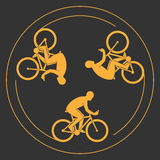 Vector symbol of a bicycle. Modern cyclists silhouettes. Royalty Free Stock Images