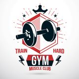 Vector symbol composed with dumbbell and royal crown, heavy load Royalty Free Stock Photos