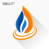 Vector symbol fire. Dark blue and orange flame glass icon with l. Ong shadow isolated Stock Photography