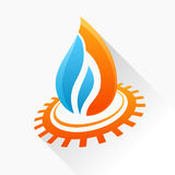Vector symbol fire with gear. Orange and blue flame glass icon w Royalty Free Stock Photography