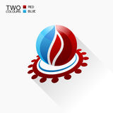 Vector symbol fire. Red and blue Round glass icon with shadow. Isolated Stock Images