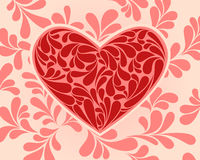 Vector symbol of the heart with swirls. Royalty Free Stock Photos