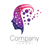 Vector symbol of human head. Profile face. Violet pink color isolated on white background. Concept sign for business. Science, psychology, medicine. Creative Stock Photos