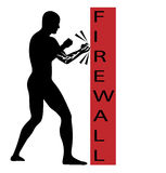 Vector symbol a man attempting to crack firewall Stock Image