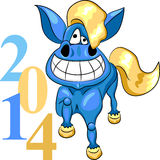 Vector symbol of the new year blue horse Stock Photography