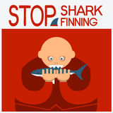 Vector symbol poster with man head eating shark Royalty Free Stock Photo