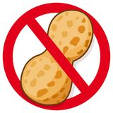 Peanut in red prohibition sign. Vector symbol promoting peanut free food Royalty Free Stock Images