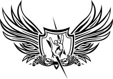 Vector symbol of rock 'n' roll. Hand, lightning and coat of arms with wings Stock Photo