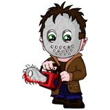 Vector symbol serial killer with mask, with a saw in hands.  royalty free illustration