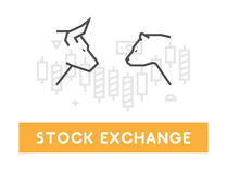 Vector symbol for stock market and stock exchange. Modern bull and bear icon for Wall Street. Logo for online trading Stock Images