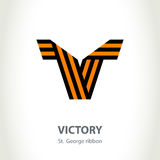 Vector symbol for Victory Day made of St. George ribbon. Isolate Royalty Free Stock Photo